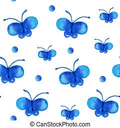 seamless, patrón, con, mariposa