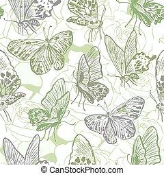 seamless, patrón, con, mariposas