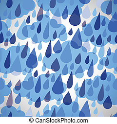 seamless, patrón, con, nubes, y, lluvia