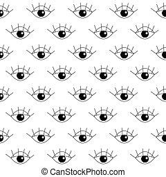 seamless, patrón, con, ojo