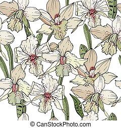 seamless, patrón, con, orquídea, flowers., interminable, textura, para, estación, diseño