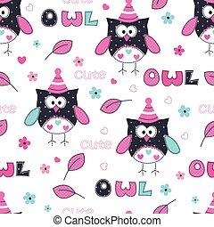 seamless, patrón, con, owl.eps