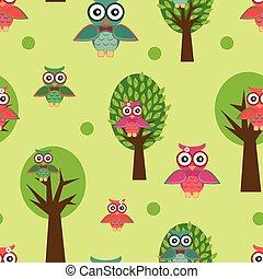 seamless, patrón, con, owls.