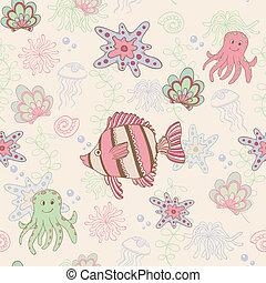 seamless, patrón, con, pez