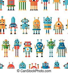 seamless, patrón, con, pixel, robots.