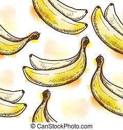 seamless, patrón, con, plátano