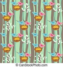 seamless, patrón, con, primavera, árboles, y, aves