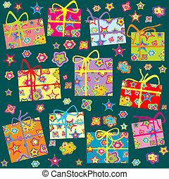 seamless, patrón, con, regalos de navidad