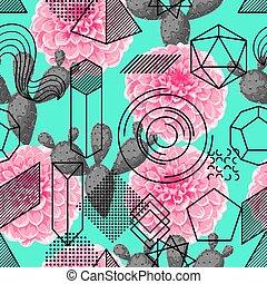 seamless, patrón, con, resumen, formas geométricas, flor, y, cactus., arte de línea, plano de fondo