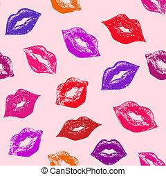 seamless, patrón, con, resumen, labios