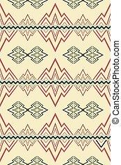seamless, patrón, con, resumen, símbolos, de, montañas, y, ríos