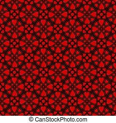 seamless, patrón, con, rojo, corazones