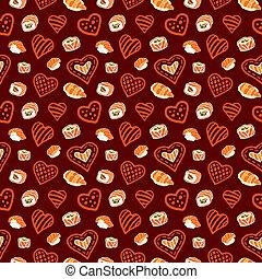 seamless, patrón, con, rojo, corazones, y, comida japonesa