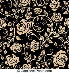 seamless, patrón, con, rosa, flores