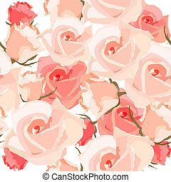 seamless, patrón, con, rosas