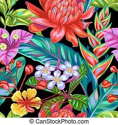 seamless, patrón, con, tailandia, flowers., tropical, multicolor, plantas, hojas, y, brotes
