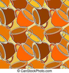 seamless, patrón, con, tazas