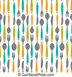 seamless, patrón, con, tenedores, cucharas, fin, knifes., vector, illustrat