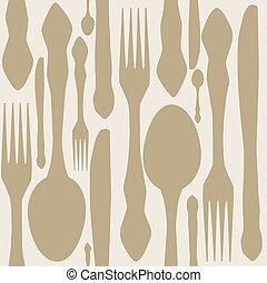 seamless, patrón, con, tenedores, cucharas, fin, knifes., vector, illustration.