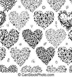 seamless, patrón, con, valentine, corazones, para, su,...