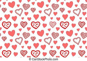 seamless, patrón, con, vario, rojo, corazones