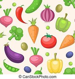seamless, patrón, con, vegetales