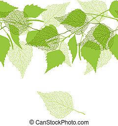 seamless, patrón, con, verde, abedul, leaves.