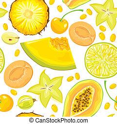 seamless, patrón, de, amarillo, fruits, y, bayas
