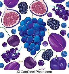 seamless, patrón, de, azul, y, lila, fruits