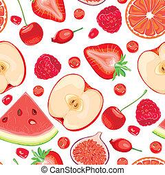 seamless, patrón, de, frutas rojas, y, bayas