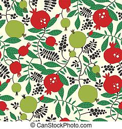 seamless, patrón, de, granada, y, manzano