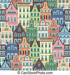 seamless, patrón, de, holanda, viejo, casas, fachadas