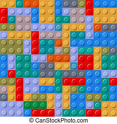 seamless, patrón, de, plástico, componentes básicos