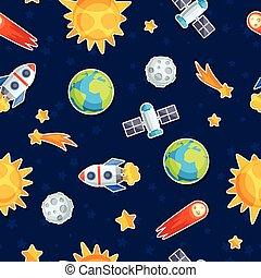 seamless, patrón, de, sistema solar, planetas, y, celestial,...