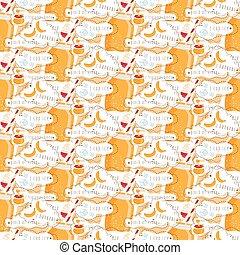seamless, patrón, de, zalamero, de, miel, y, yogurt., vector, ilustración