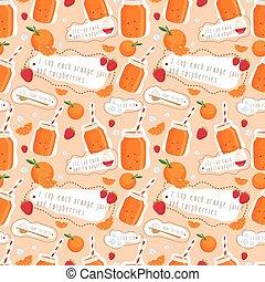 seamless, patrón, de, zalamero, de, naranjas, y, yogurt., vector, ilustración
