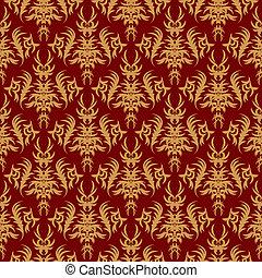seamless, patrón, en, un, rojo, fondo., retro, vendimia