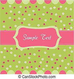 seamless, patrón floral, bebé, tarjeta
