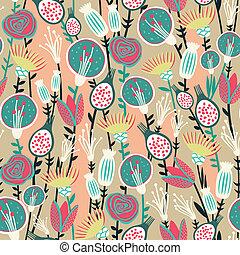 seamless, patrón, floral, colorido