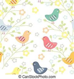 seamless, patrón floral, con, aves