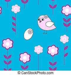 seamless, patrón floral, con, aves, y, huevos