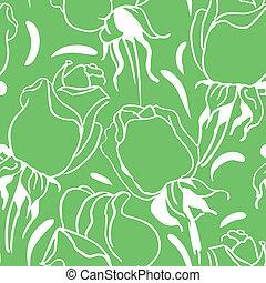 seamless, patrón floral, con, rosas