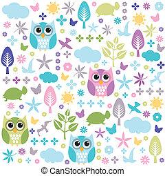 seamless, patrón floral, papel pintado