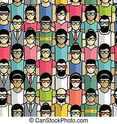 seamless, patrón, grupo, gente