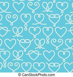seamless, patrón, hecho, de, soga, corazones, decorativo,...