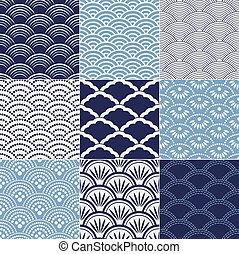 seamless, patrón, japonés, onda