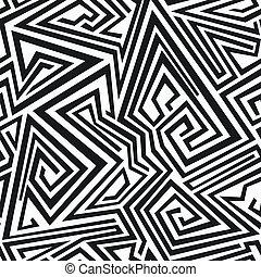 seamless, patrón, líneas, espiral, monocromo