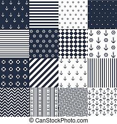 seamless, patrón, náutico, elementos