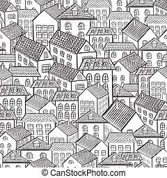 seamless, patrón, pueblo, casas