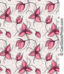 seamless, patrón, rojo, orquídea, flores